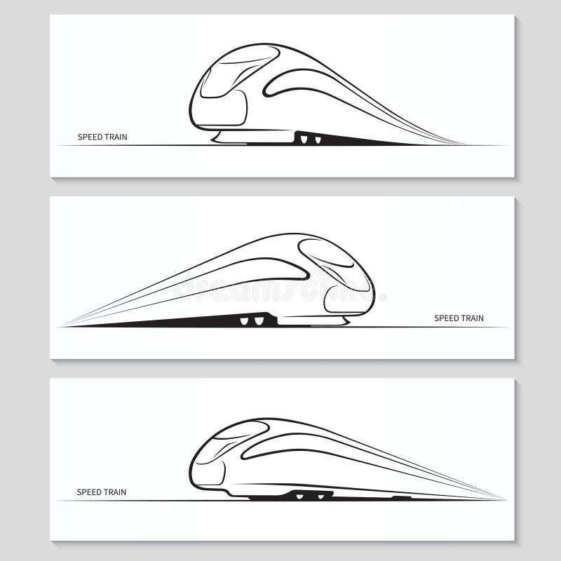 Uppsättning av moderna hastighetsdrevkonturer och konturer royaltyfri illustrationer