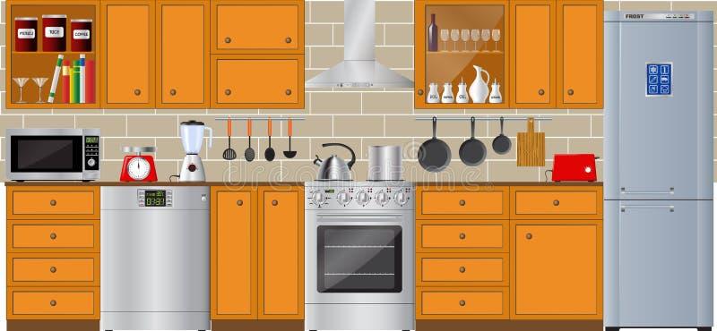 Uppsättning av moderna hushållanordningar Kylskåp, diskare och packning royaltyfri illustrationer