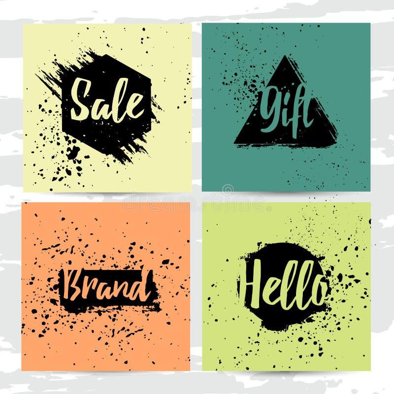 Uppsättning av moderna kort med dekoren av abstrakta geometriska fläckar Bakgrund av färgpulverfläckarna Erbjudandeförsäljning på royaltyfri illustrationer
