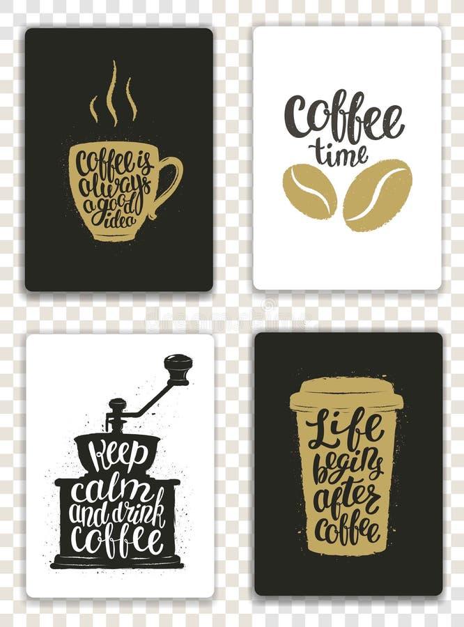 Uppsättning av moderna kort med kaffebeståndsdelar och bokstäver Moderiktiga hipstermallar för reklamblad, inbjudningar, menydesi vektor illustrationer