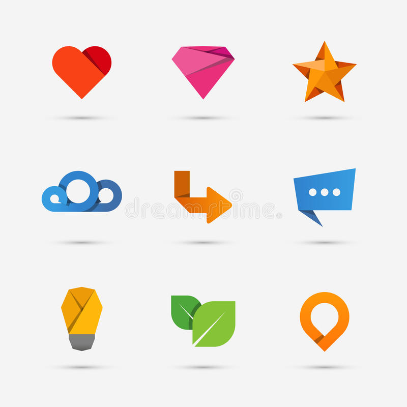 Uppsättning av moderna lägenhetpapperssymboler eller logobeståndsdelar vektor illustrationer
