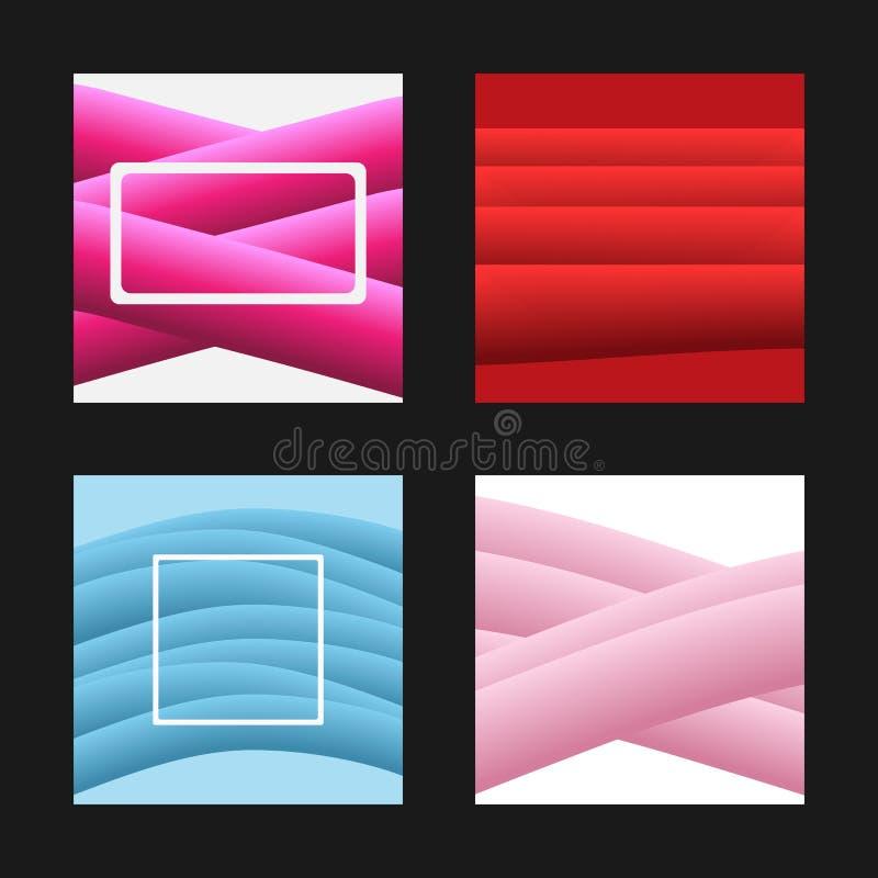 Uppsättning av moderna mallar för design av fyrkantiga bakgrunder, baner, kort, räkningar, klistermärkear, titelrader vektor illustrationer