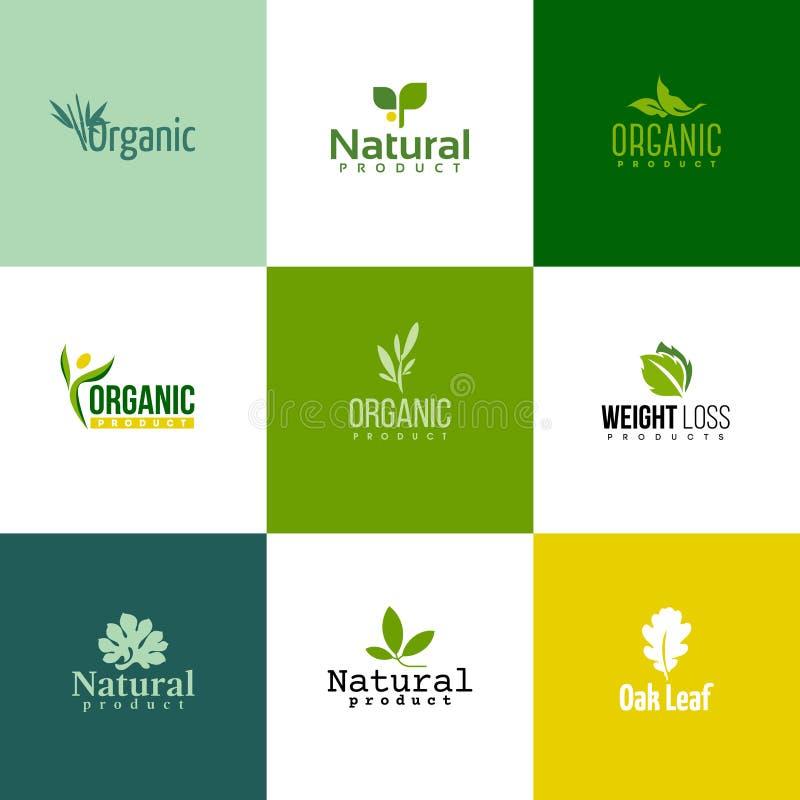 Uppsättning av moderna naturlig och organisk produktlogomallar och ic royaltyfri illustrationer