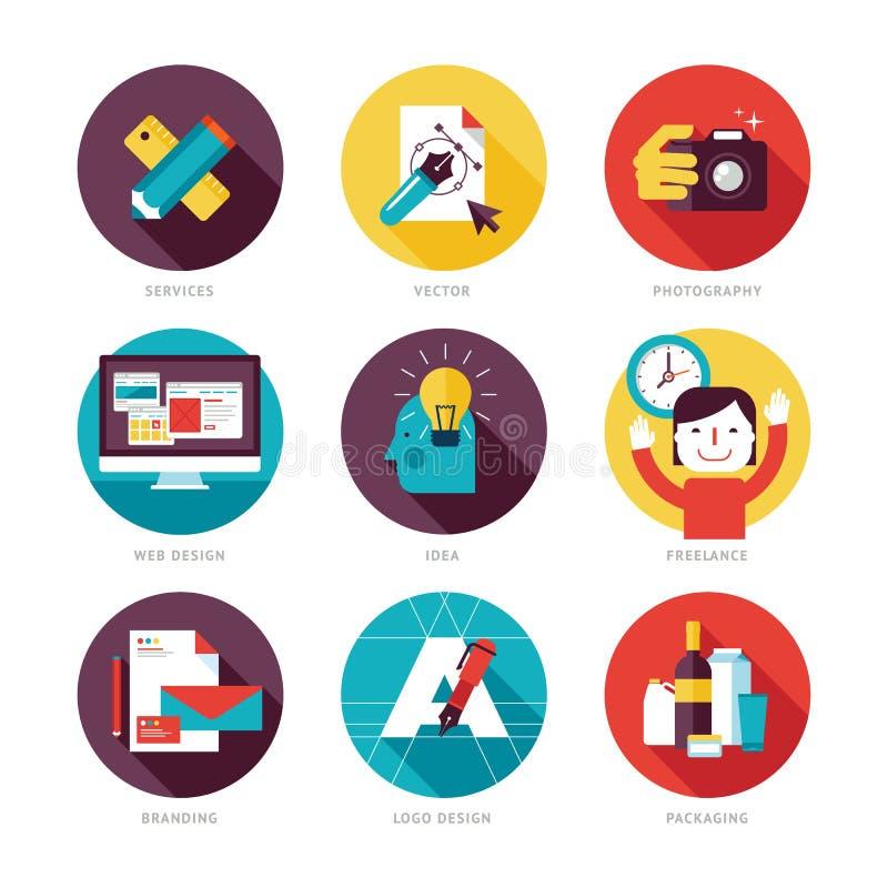 Uppsättning av moderna plana designsymboler på designutvecklingstema stock illustrationer
