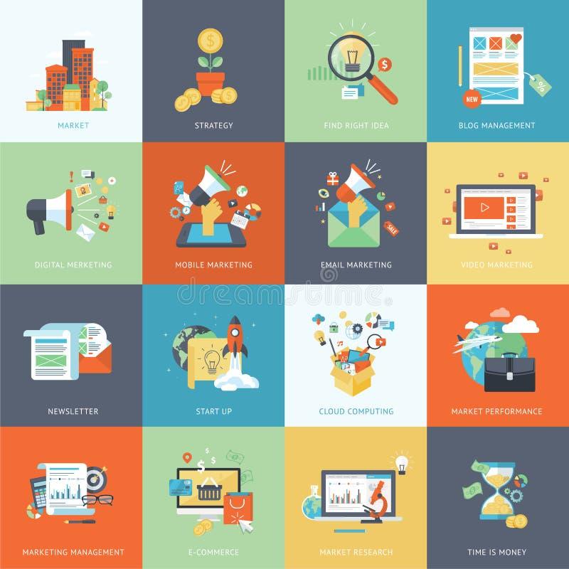Uppsättning av moderna plana symboler för designbegrepp för marknadsföring stock illustrationer
