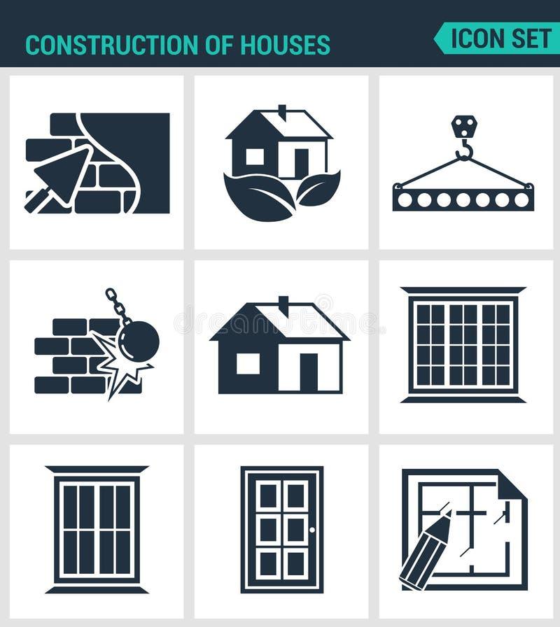 Uppsättning av moderna symboler Konstruktion av hus rappar väggar, eco-huset, stången, klapp, bryter ner väggarna, fönster, dörra stock illustrationer