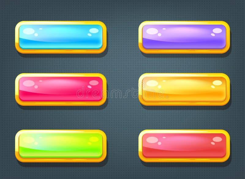 Uppsättning av modiga färgrika knappar stock illustrationer