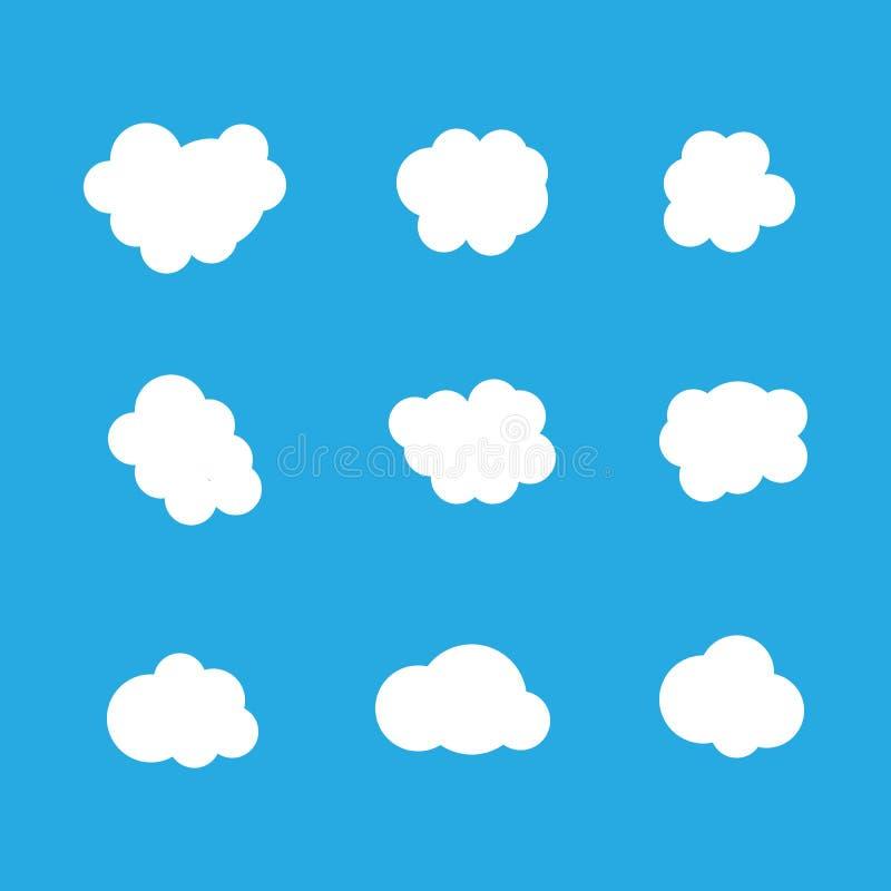 Uppsättning av moln i blå himmel Molnsymbolsformer Samling av olika moln, etikett, symbol Grafisk vektordesignbeståndsdel för vektor illustrationer