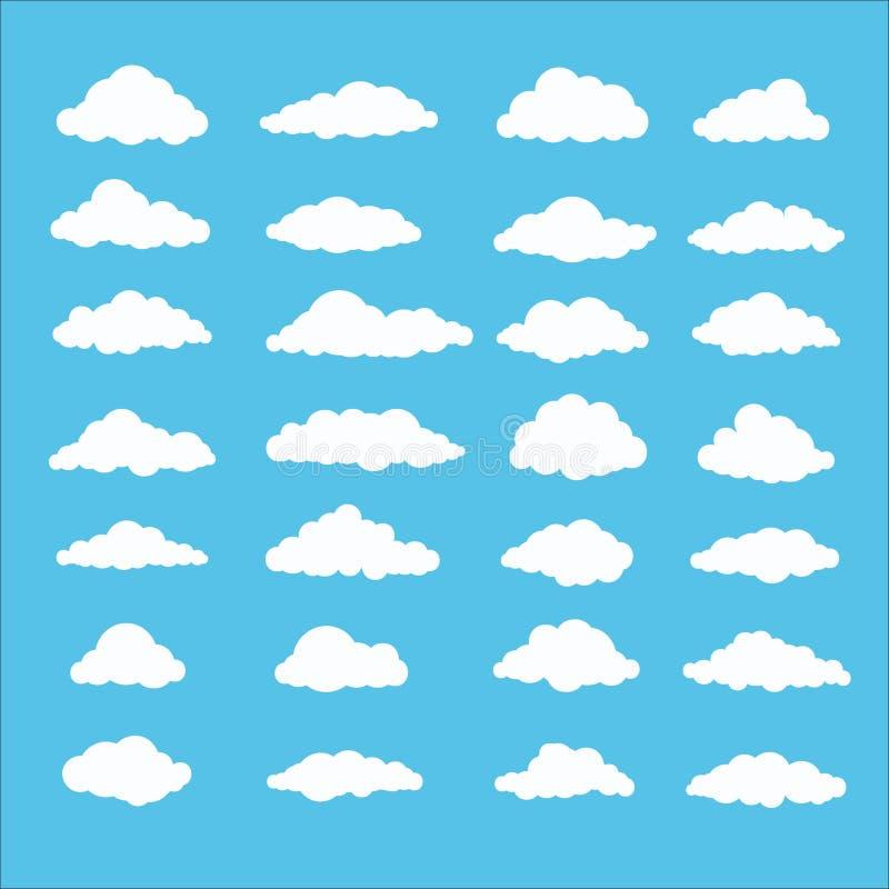 Uppsättning av molnet i plan stil som isoleras på blå bakgrund stock illustrationer