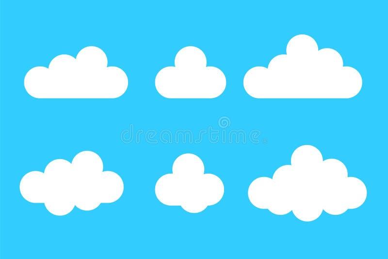 Uppsättning av molnsymboler i plan stil för tecknad film som isoleras på blå bakgrund Väder för vektordesignbeståndsdelar royaltyfri illustrationer