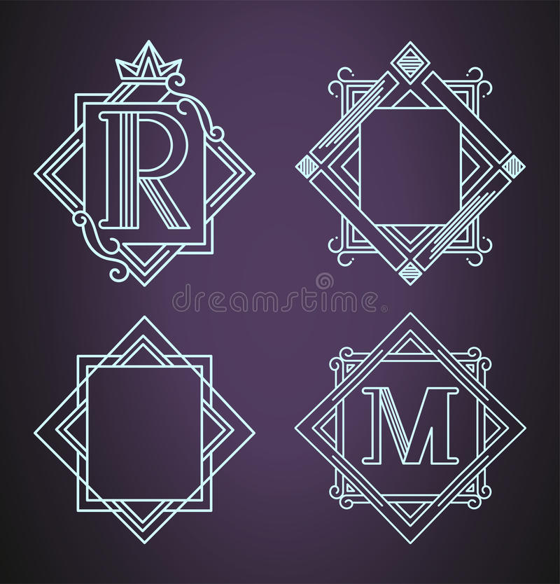 Uppsättning av monogramdesignbeståndsdelar, behagfull mall också vektor för coreldrawillustration royaltyfri illustrationer