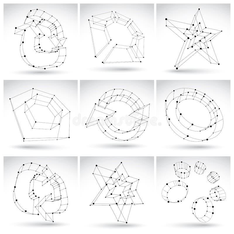 Uppsättning av monokromma abstrakta objekt för ingrepp 3d på vitbac vektor illustrationer