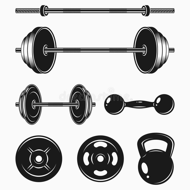 Uppsättning av monokromma bodybuildingutrustningar IDROTTSHALL- eller konditionbeståndsdelar - vikt, skivstång, hantel vektor vektor illustrationer
