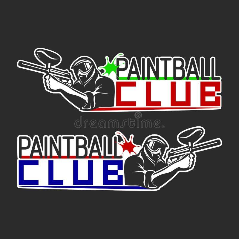 Uppsättning av monokromma paintballlogoer, emblem och symboler Inomhus och utomhus- paintballklubbabeståndsdelar Skytteman med va vektor illustrationer