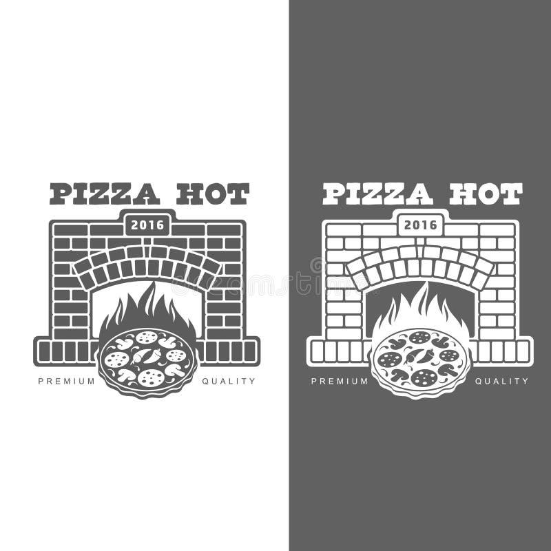 Uppsättning av monokromma pizzalogoer royaltyfri illustrationer
