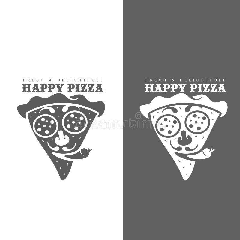 Uppsättning av monokromma pizzalogoer vektor illustrationer