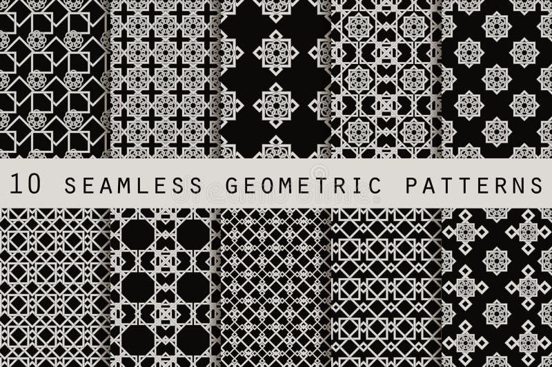 Uppsättning av 10 monokromma sömlösa modeller seamless geometrisk modell vektor stock illustrationer