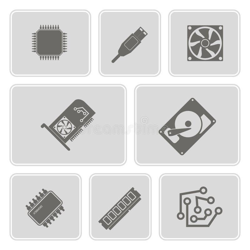 Uppsättning av monokromma symboler med datormaskinvara och delar royaltyfri illustrationer