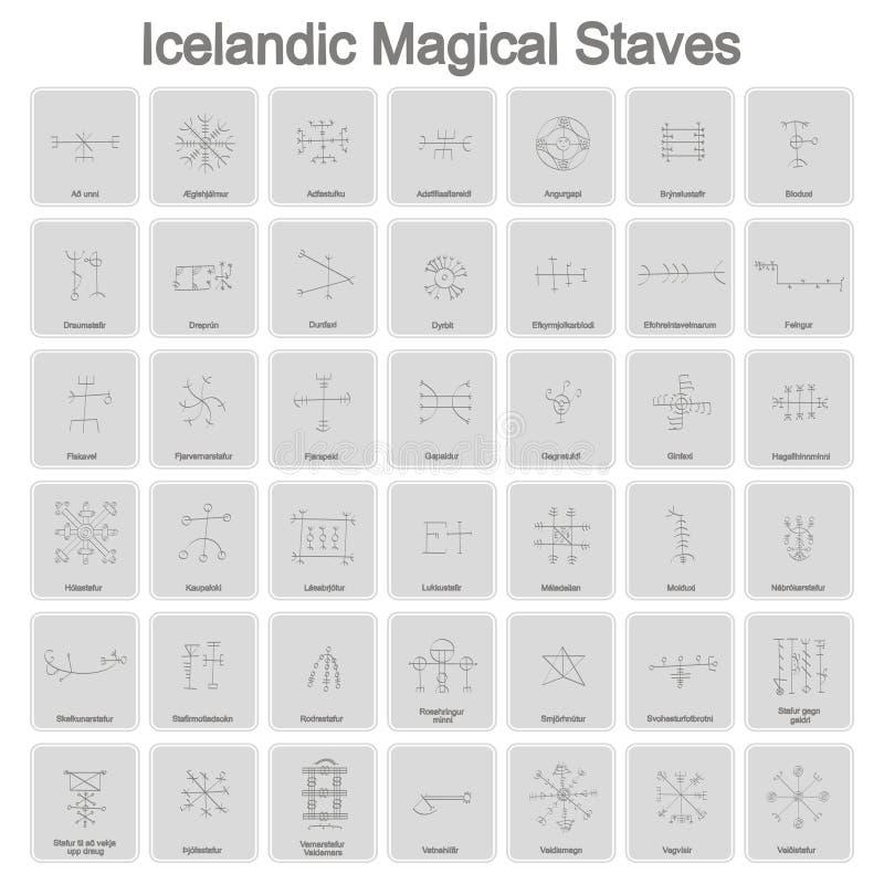 Uppsättning av monokromma symboler med isländska magiska symboler royaltyfri illustrationer
