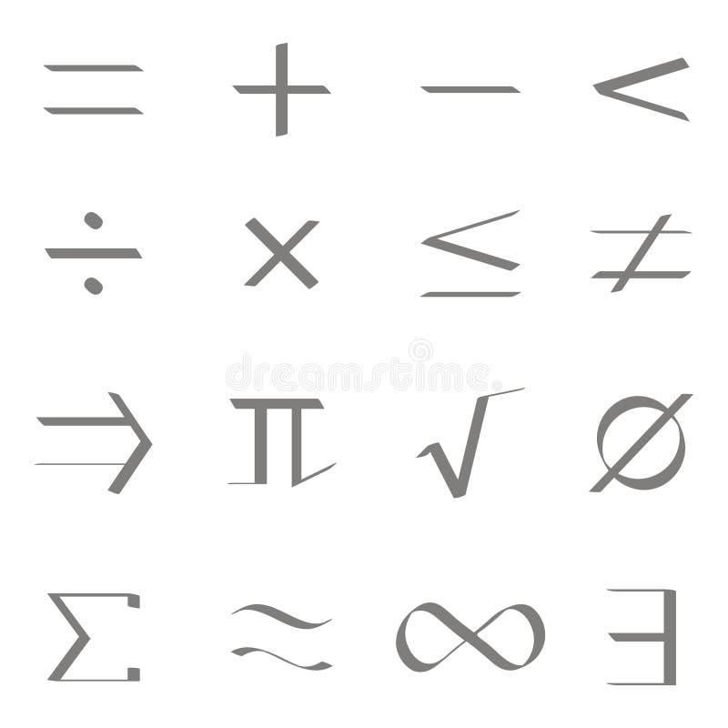 Uppsättning av monokromma symboler med matematiska symboler royaltyfri illustrationer