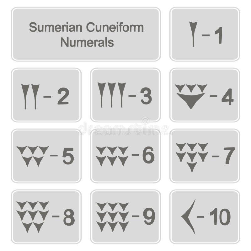 Uppsättning av monokromma symboler med sumerian kilskrift- tal stock illustrationer