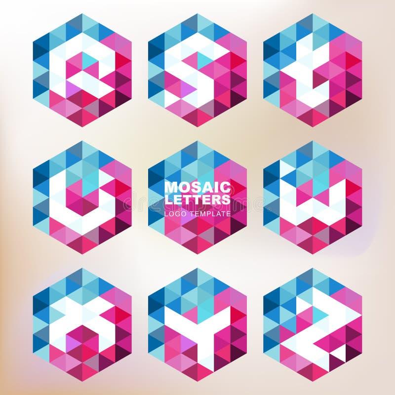 Uppsättning av mosaikbokstavssymboler Geometrisk logodesignmall corp.- stock illustrationer