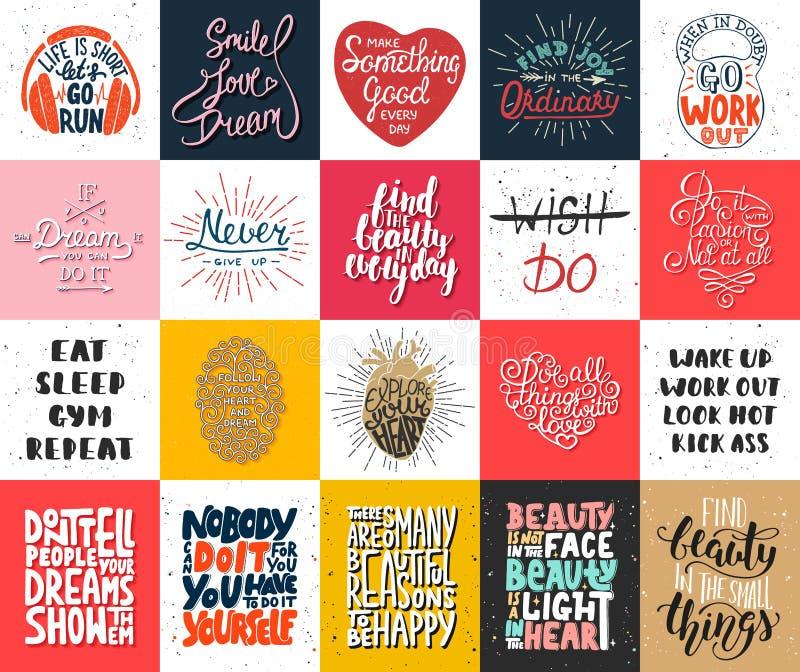 Uppsättning av motivational och inspirerande märka affischer för vektor 20, hälsningkort, garnering, tryck, t-skjorta design stock illustrationer