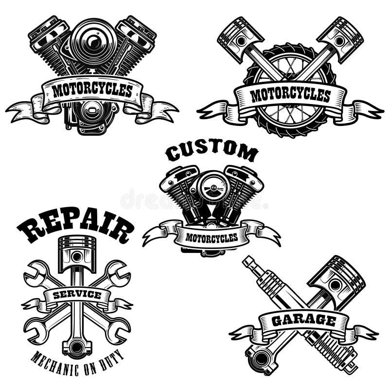 Uppsättning av motorcykelreparationsemblem Motor hjälpmedel, pistong Planlägg beståndsdelen för logoen, etiketten, emblemet, teck stock illustrationer