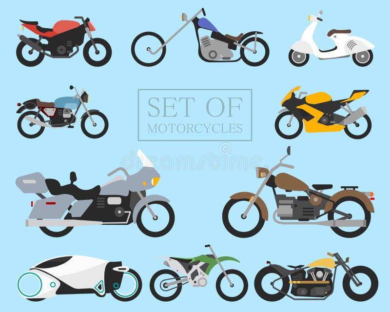 Uppsättning av motorcykelsymboler retro och moderna plana cyklar springa och gatamopeder Sparkcykel på vit stock illustrationer