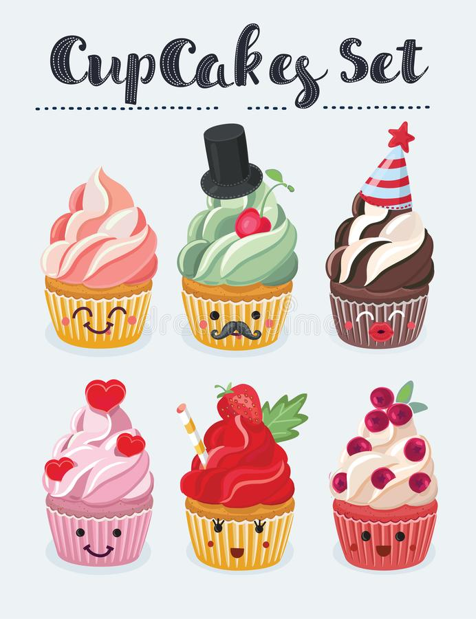 Uppsättning av muffinemojisymboler Olika sinnesrörelser som ler framsidor, vektorillustration royaltyfri illustrationer