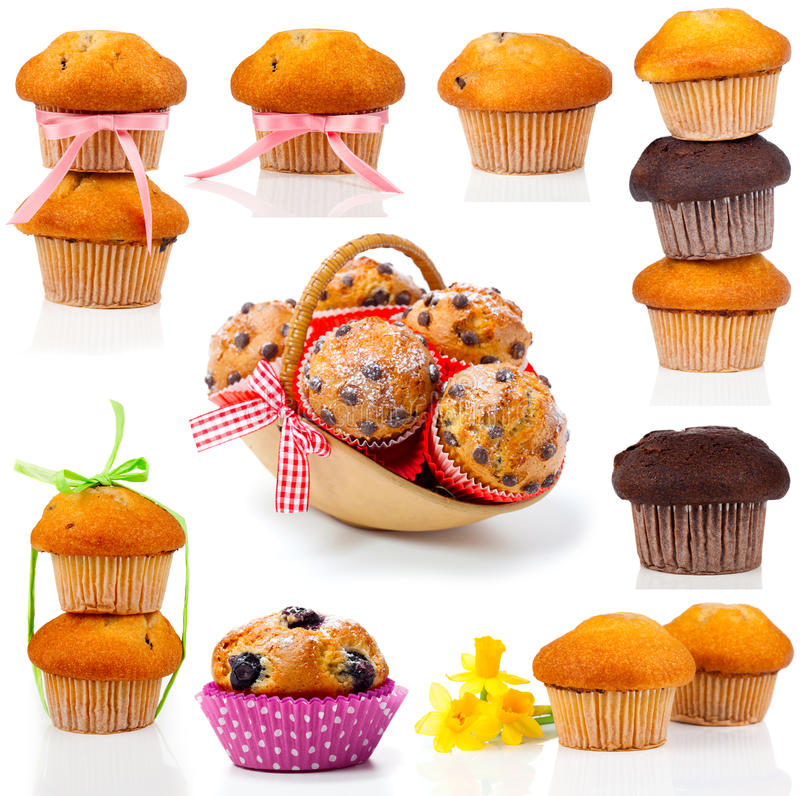 Uppsättning av muffiner fotografering för bildbyråer