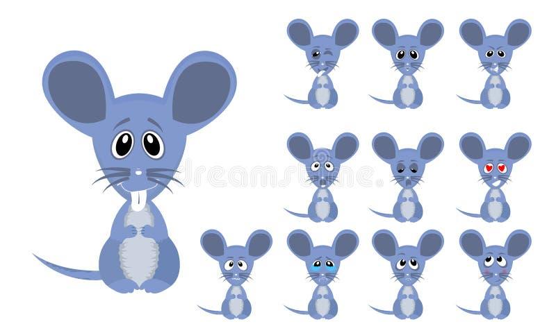 Uppsättning av musen för rolig tecknad film för vektorillustration den lilla gråa med ansiktsuttryck royaltyfri illustrationer