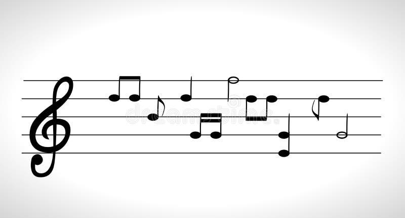 Uppsättning av musikaliska anmärkningar på fem-linjen klockabeteckningssystem utan en featu royaltyfri illustrationer