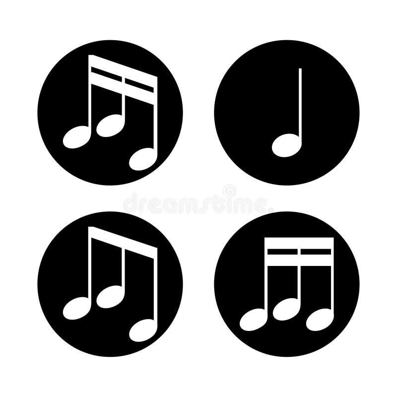 Uppsättning av musikanmärkningar på en vit bakgrund också vektor för coreldrawillustration royaltyfri illustrationer