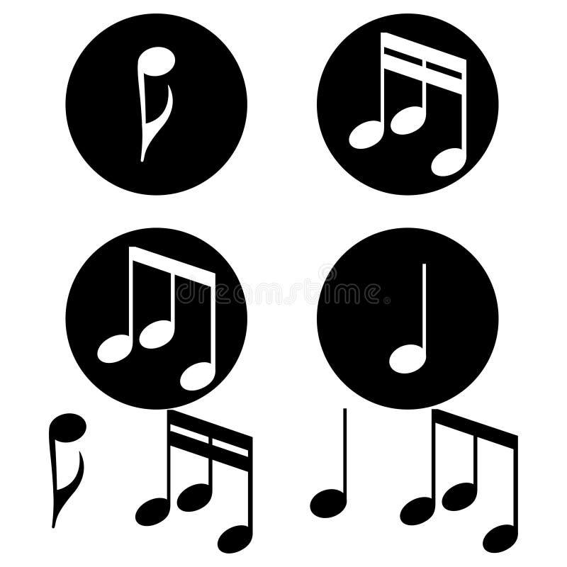 Uppsättning av musikanmärkningar på en vit bakgrund också vektor för coreldrawillustration vektor illustrationer