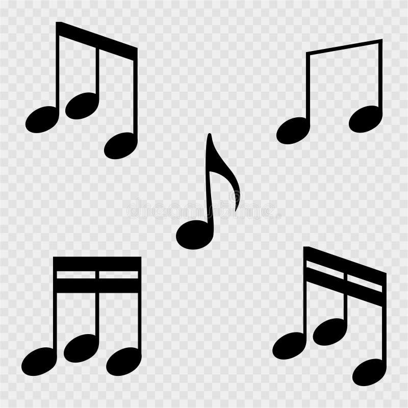 Uppsättning av musikanmärkningar på en vit bakgrund också vektor för coreldrawillustration stock illustrationer