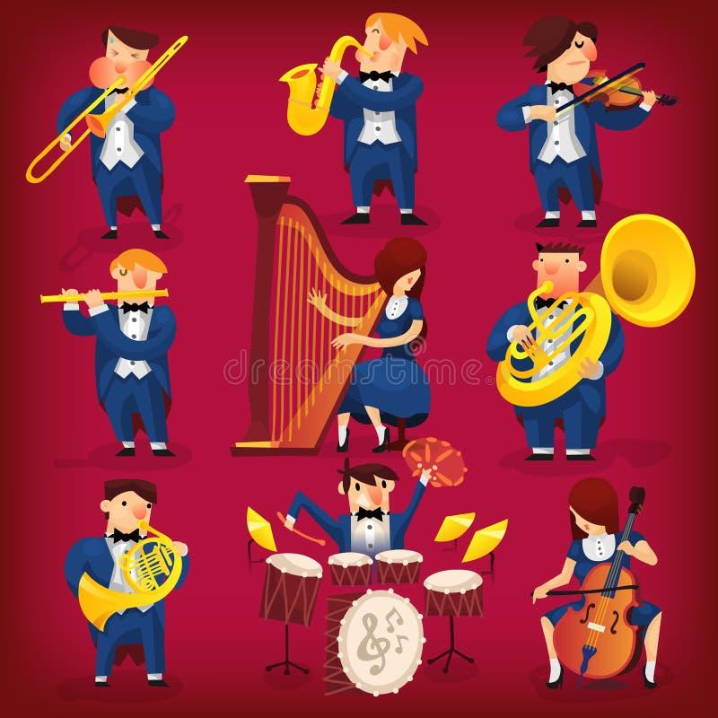 Uppsättning av musiker vektor illustrationer