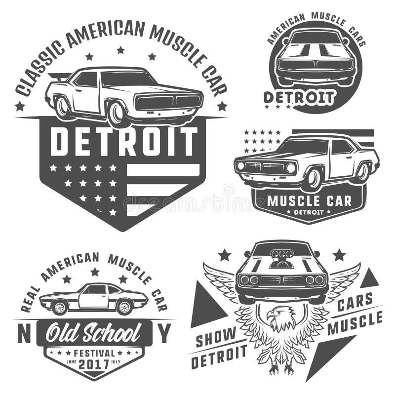 Uppsättning av muskelbilen för logo och emblem Retro och tappningstil Tävlings- bil för friktion stock illustrationer