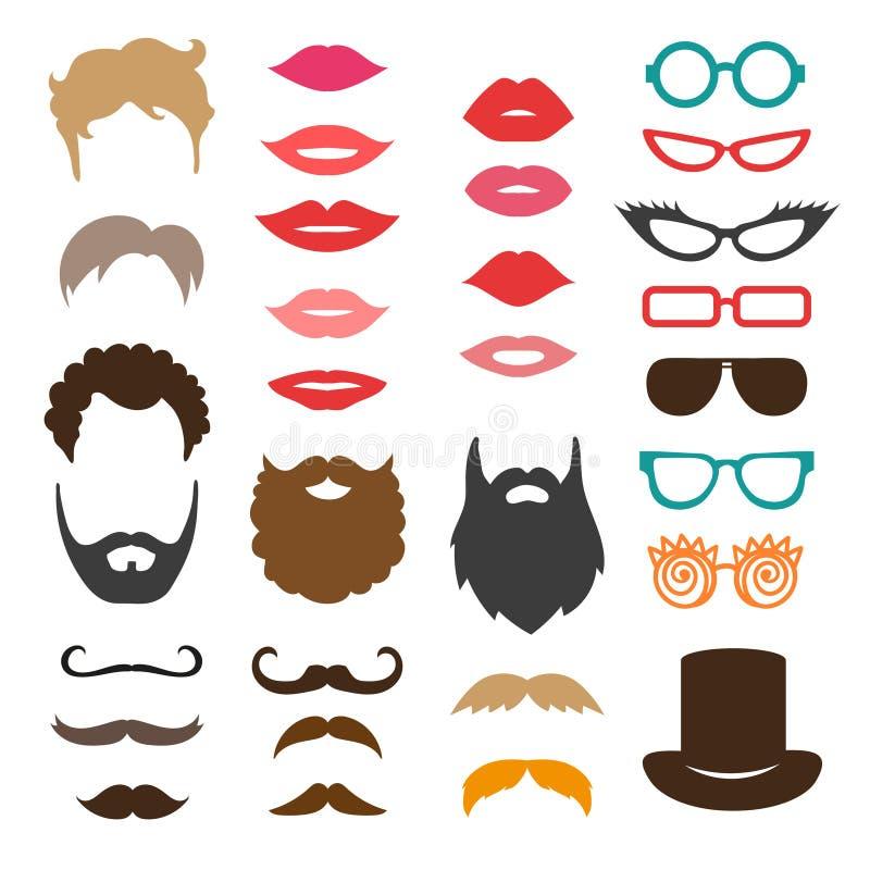 Uppsättning av mustasch, skägg, frisyrer, kanter och solglasögon royaltyfri illustrationer