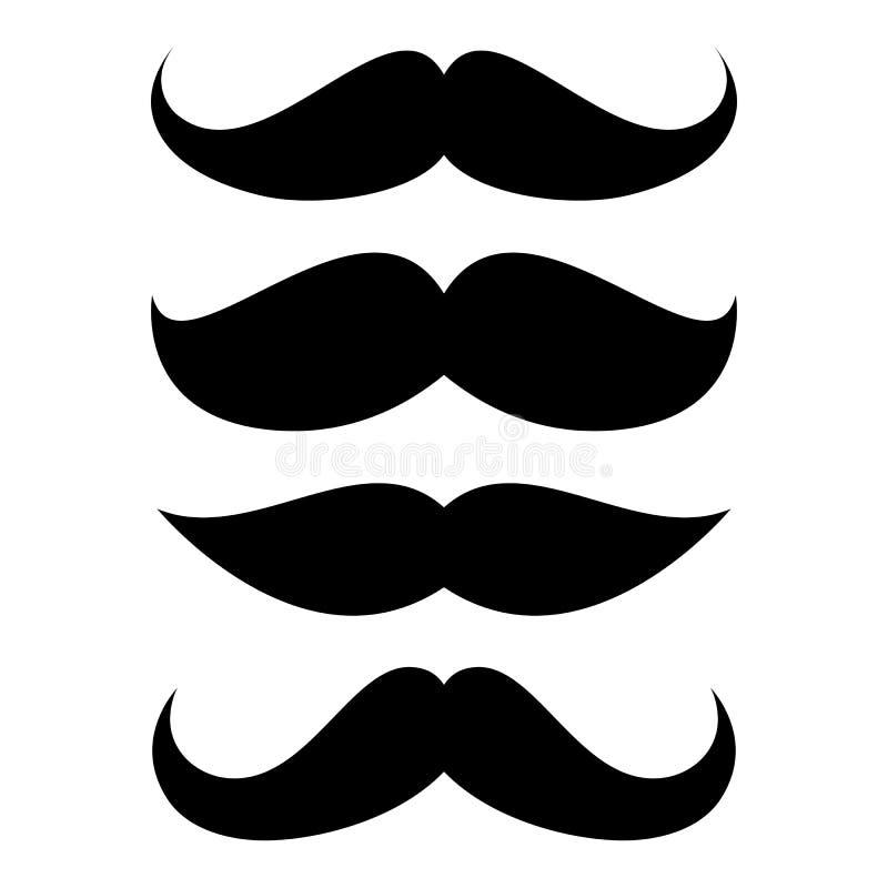 Uppsättning av mustaschen royaltyfri illustrationer
