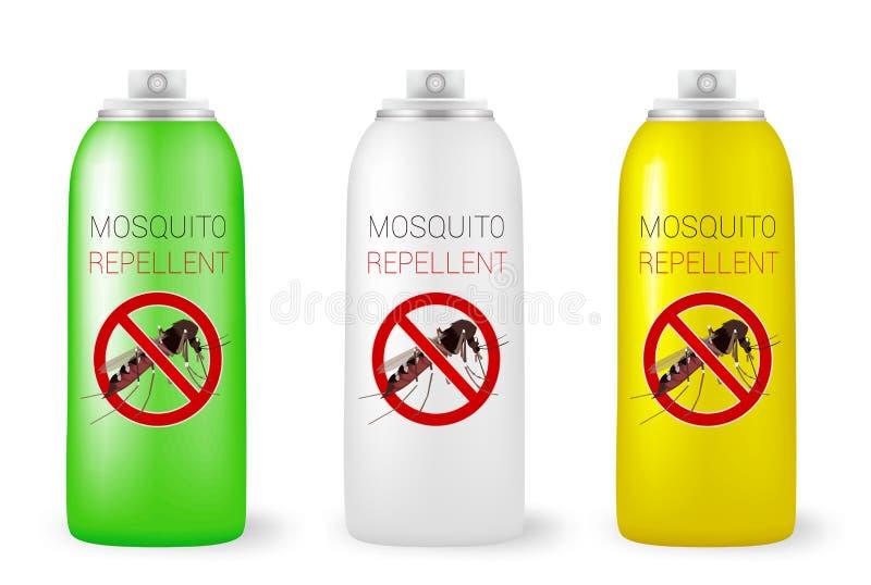 Uppsättning av myggaimpregneringsmedel på vit royaltyfri illustrationer