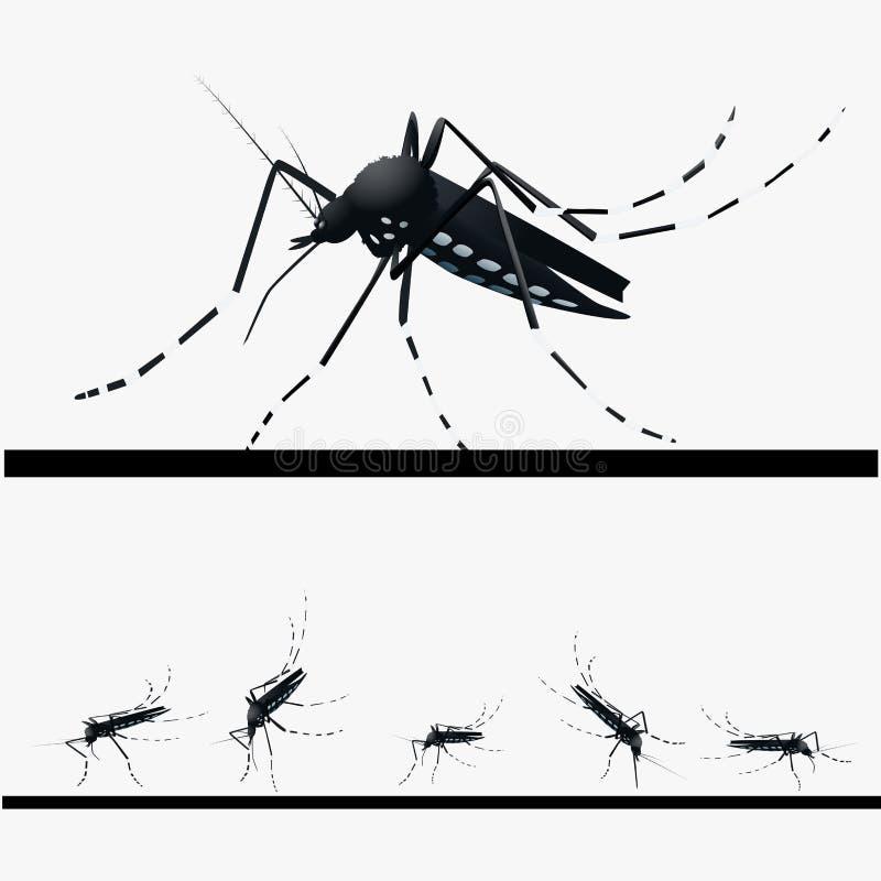 Uppsättning av myggor royaltyfri illustrationer