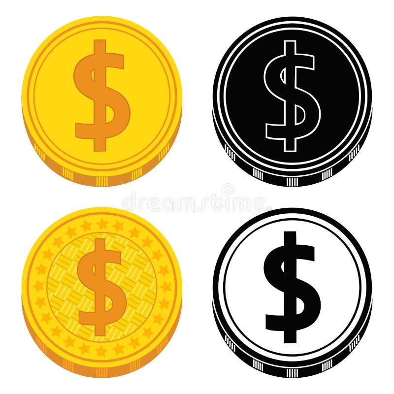 Uppsättning av mynt av guld- och svartvitt vektor royaltyfri illustrationer