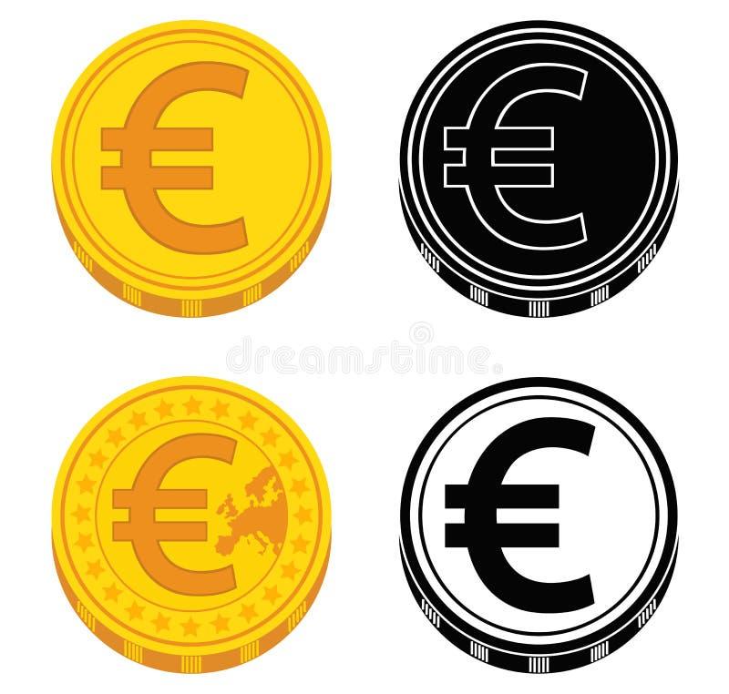 Uppsättning av mynt med eurotecknet svart white vektor stock illustrationer