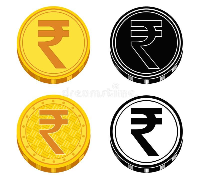 Uppsättning av mynt med pengarsymboler av Indien också vektor för coreldrawillustration royaltyfri illustrationer