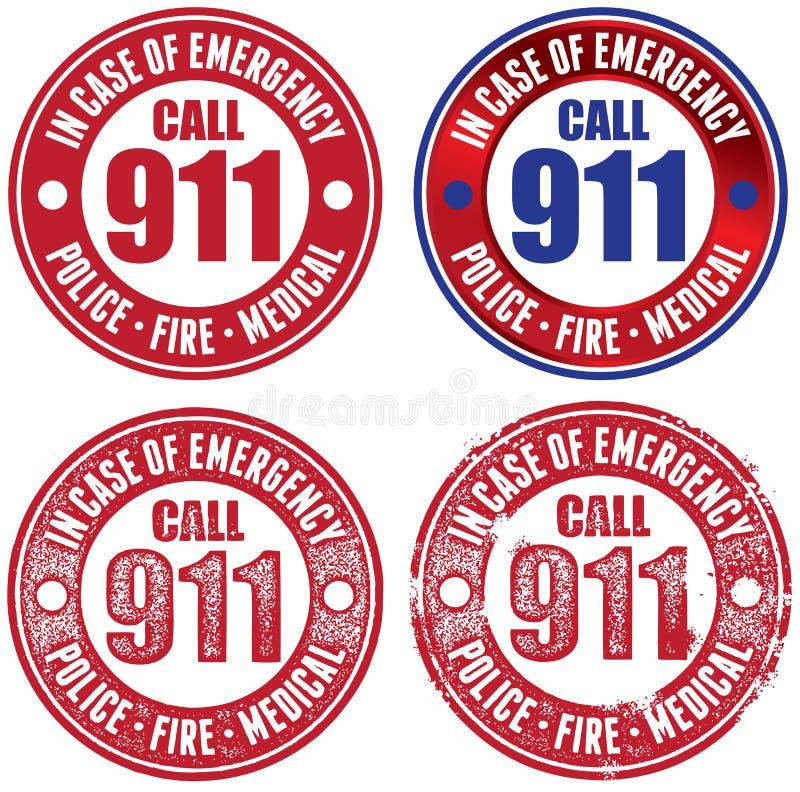 Uppsättning av nöd- 911 stämplar vektor illustrationer