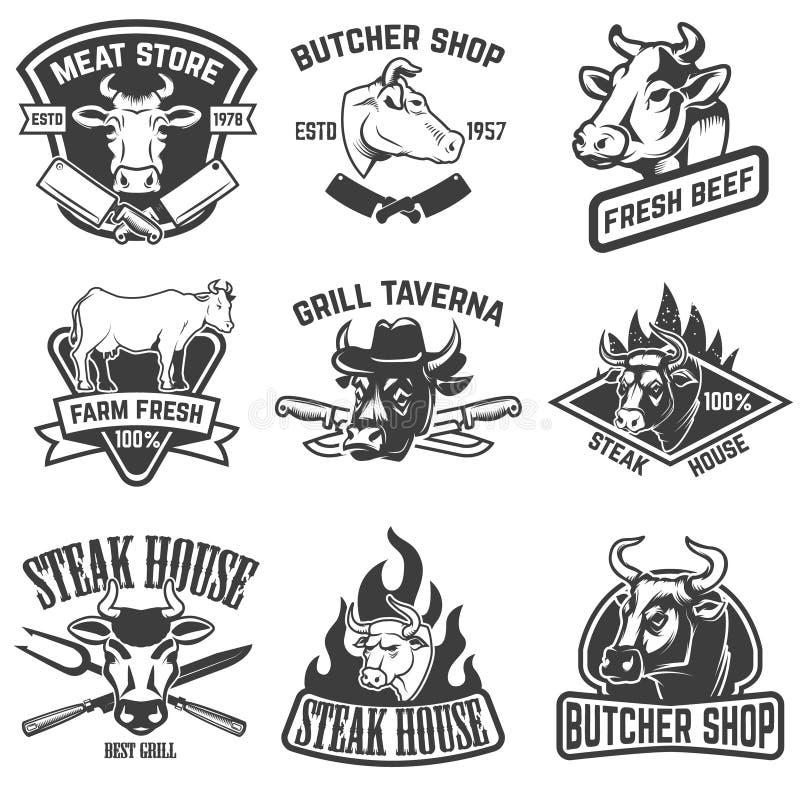 Uppsättning av nötköttkött, stekhusemblem Designbeståndsdelar för logo, royaltyfri illustrationer