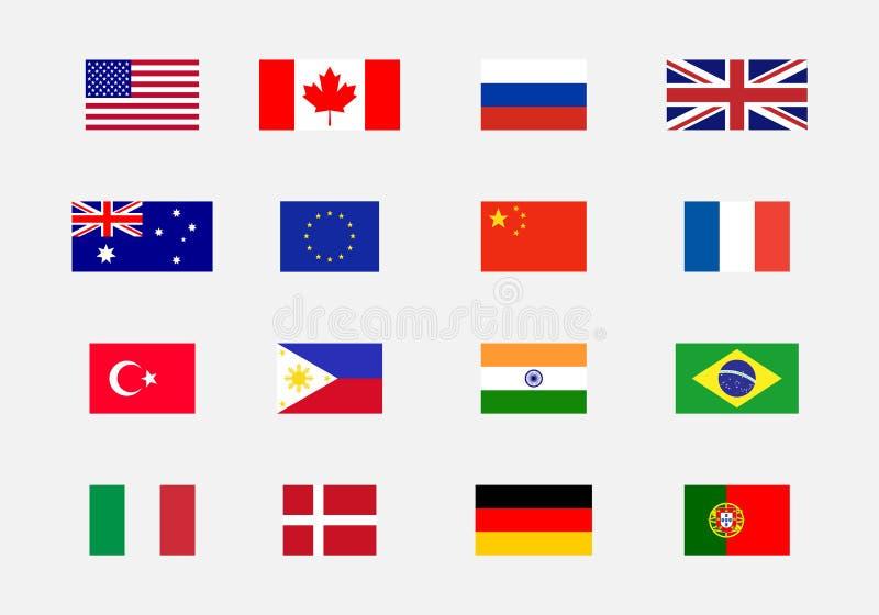 Uppsättning av nationsflaggor royaltyfri illustrationer