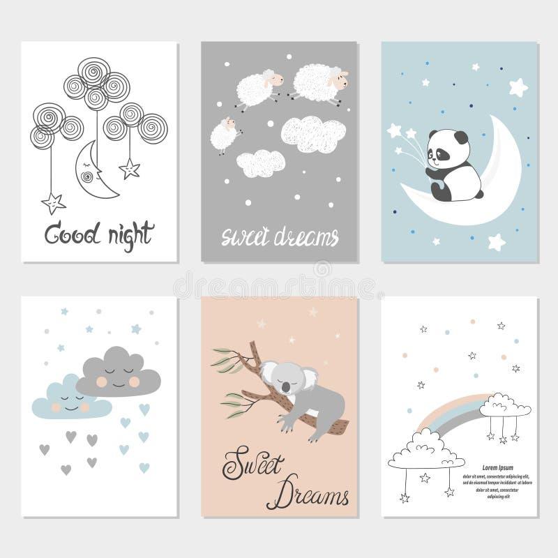 Uppsättning av nattkort med gulliga den tecknad filmdjur, stjärnor och månen Affischer för behandla som ett barn rum vektor illustrationer