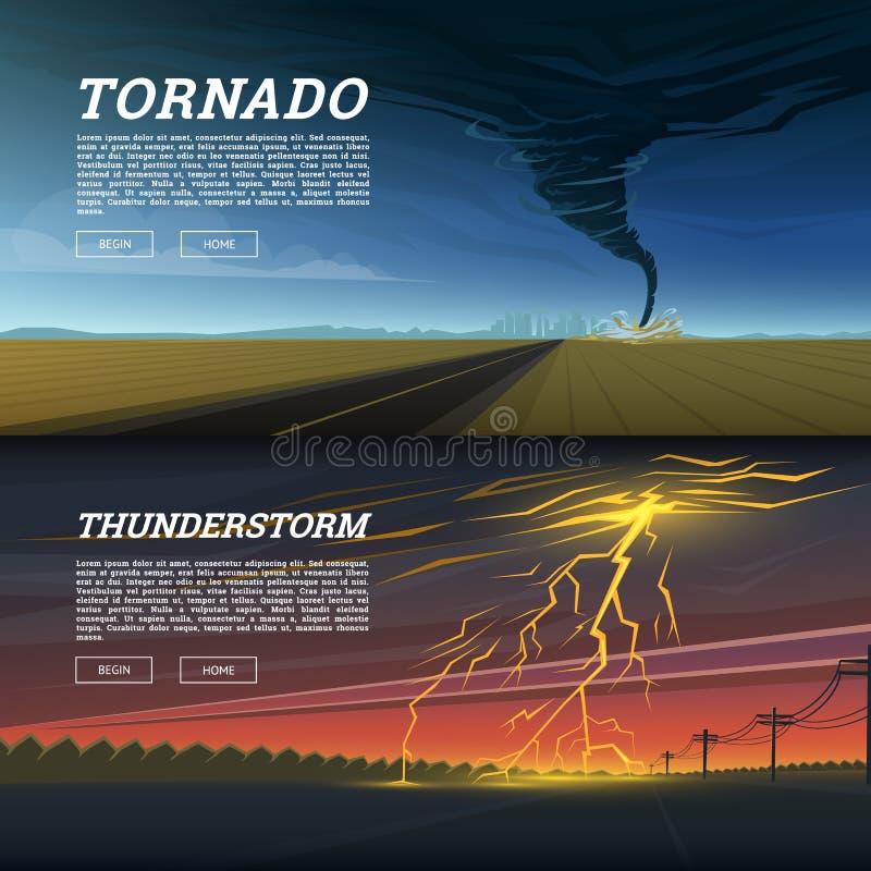 Uppsättning av naturkatastrof eller katastrofer Katastrof- och krisbakgrund Realistisk tromb eller storm, blixtslag vektor illustrationer